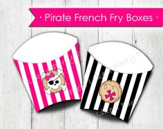 Pink Pirate French Fry Boxes. These french fry boxes are perfect for filling up with goodies at your Pirate Party! This listing includes BOTH