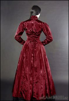 Blood Countess - Isabella Coatdress by Kambriel - custom made in blood red moire. $225.00, via Etsy.