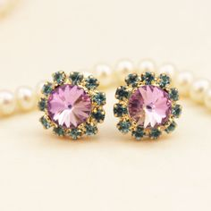 Light Purple Light Pink Aqua Stud earrings Post by TIMATIBO, $25.00