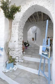 Alley in Siros Island, Greece