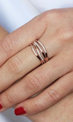 This 4 row multi-band ring is perfect for everyday wear. #diamonds #rings #danarebecca