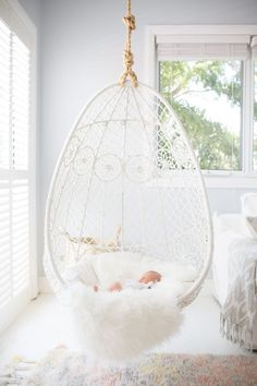 Swing Chair For Bedroom, Hammock In Bedroom, Hanging Swing Chair, Swinging Chair, Hammock Chair, Hanging Chairs, Hammock Swing, Hammock Ideas, Hanging Beds