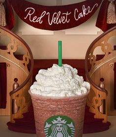 Mmm the Red Velvet Cake Frappuccino is officially on the Starbucks menu! Stop by your local store to order one!