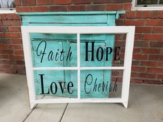 Window Frame Sign. PICK UP ONLY. Window pane, old window, rustic window sign, rustic wedding decor, large window, faith sign, cherish sign by LoveTheJunk on Etsy