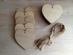 10No. 80mm Birch Ply Hearts With Holes