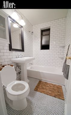 Subway and hex tile bathroom -actually quite like this for the floor and walls. Chuck in the vertical timber too.