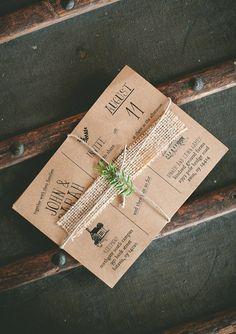 Love this rustic #wedding invite! From http://100layercake.com/blog/2013/04/04/diy-barn-wedding-sarah-and-john/  Photo Credit: http://justinmichau.com/blog/