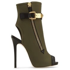 Giuseppe Zanotti Roxie ($875) ❤ liked on Polyvore featuring shoes, boots, ankle booties, ankle-boots, green, open toe booties, ankle boots, open toe ankle boots, leather high heel boots and short leather boots