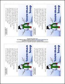 ... bag toppers snowman soup label christmas snowman snowman soup tag