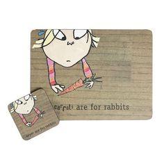 """Carrots Are For Rabbits"" Charlie & Lola Coaster & Placemat Set dotcomgiftshop http://www.amazon.co.uk/dp/B00JR90QVS/ref=cm_sw_r_pi_dp_dPxrub1TZ9CGX"