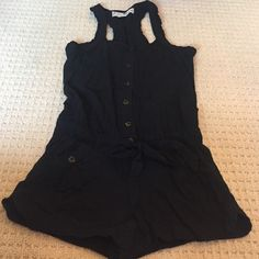 Jolt Romper Button up romper with pockets and front tie Jolt Pants Jumpsuits & Rompers