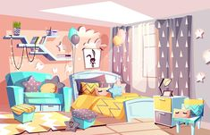 Buy Girl Modern Room Interior Vector Illustration by vectorpouch on GraphicRiver. Kid girl room or bedroom interior vector illustration of modern cozy Scandinavian furniture style. Cartoon bed and so. Blue Sparkle Background, Photos Encadrées, Casa Anime, Bedroom Drawing, Bg Design, Vector Design, Living Room Background, Scenery Wallpaper, Cartoon Background