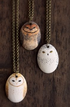 Little Owl Necklace- porcelain owl totem necklace. I would like to paint stones like this