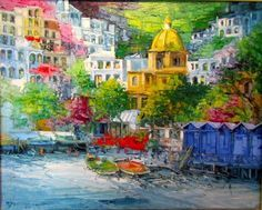 Antonio Di Viccaro Art For Sale - 25 Listings Selling Art Online, Online Art, Positano, City Art, Anton, Art For Sale, Oil On Canvas, Beautiful Places, Abstract Art