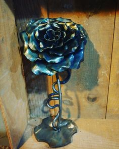 Blacksmithed rose hand crafted by Thymelyglass Studio