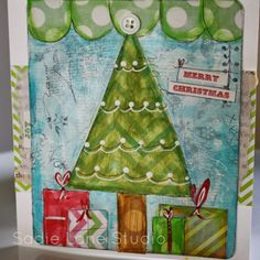 Sadie Inspired: Painted Mixed Media Christmas Card using mambi (me & my BIG ideas) POCKET PAGES.