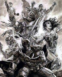 Justice League by Lee Bermejo (sketch) by BatmanMoumen Comic Book Characters, Comic Character, Comic Books Art, Dc Comics Art, Marvel Dc Comics, Marvel Vs, Gotham City, Lee Bermejo, Batman Artwork