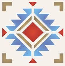 Navajo Four Corners Stencil - Henny Donovan Motif Stencil Patterns, Stencil Designs, Quilt Patterns, Native American Design, Native Design, Quilting Designs, Embroidery Designs, Navajo Pattern, Navajo Weaving