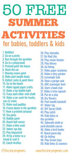 50 Free Summer Activities for Kids || The Chirping Moms