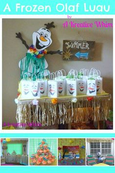 A Frozen Olaf Luau  Olaf's Summer Land Frozen Party In Summer Frozen Party Olaf door hanger Luau