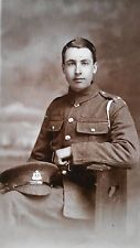 WW I British Real Photo Postcard A Private in The Suffolk Regiment