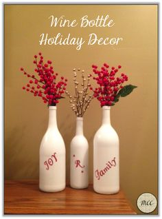 Wine Bottle Holiday Decor DIY
