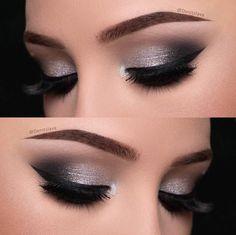Eye Makeup Silver Smokey Eyeshadow Tutorials Ideas For 2019 Denitslava Makeup, Eye Makeup Glitter, Makeup Eye Looks, Simple Eye Makeup, Prom Makeup, Smokey Eye Makeup, Makeup Inspo, Bridal Makeup, Eyeshadow Makeup