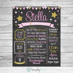 This listing is for a Twinkle Twinkle Little Star Birthday Chalkboard Printable. This is a digital file that you can print out and use as a keepsake,