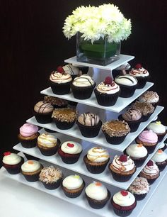 Square Wedding Cupcake Tower Display: http://www.thesmartbaker.com/5-tier-square-cupcake-tower/
