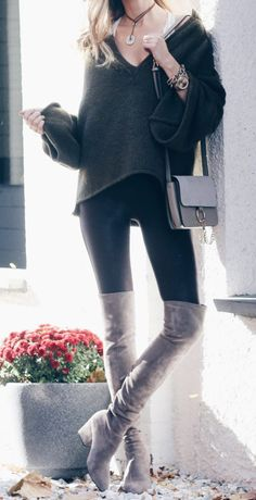 fall outfit: free people bell sleeve green sweater with lace barrette and spanx faux leather leggings and taupe over the knee boots