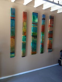 Stacy d'aguiar 's multi media panels are rich in color and texture. sold separately or together these panels are acrylic on gallery stretched canvas . Art Auction Projects, Arco Floor Lamp, Turtle Crafts, Arts And Crafts For Teens, Artist And Craftsman, Wood Mosaic, Mini Canvas Art, Funky Art, Diy Wall Art