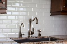Subway tile is a simple, classic addition to any kitchen, bathroom, fireplace or pool. Shop for subway tiles at Style On Art Factory today! Herringbone Backsplash, Subway Tile Backsplash, Glass Subway Tile, Bathroom Countertops, Kitchen Backsplash, Backsplash Ideas, Tile Ideas, Lime Green Kitchen, Green Kitchen Cabinets