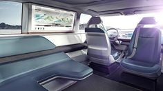 Volkswagen Budd-e Concept Has 233 Miles of Range, Microbus-Like Body - Automobile Magazine Bus Interior, Car Interior Design, Interior Sketch, Automotive Design, Auto Design, Interior Rendering, Porsche, Audi, Toyota