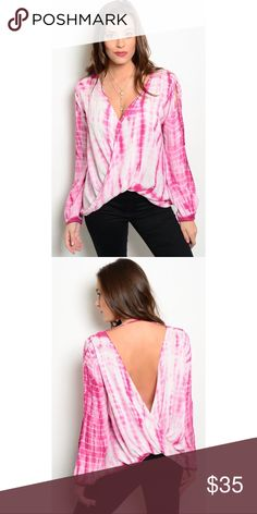 "Very Cute Pink Wrap Top Fabric Content: 100% RAYON Description: L: 21"" B: 22"" W: 22"" Boutique Tops"