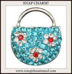 COWGIRL GYPSY SNAP CHARMS! Aqua Rhinestone with Red Flowers Handbag Silver Snap Charm Use them on our bracelets and necklaces to create your own personal jewelry!  #snap #handbag #rhinestone #noosa #cowgirl #snapcharm #charm #button #gingersnap #boutique