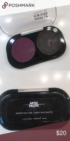 Makeup forever duo palette purple brown Gently used purple and brown eyeshadows from makeup forever with case. I used my brush wet, that's why the shadows might look weird. Retails for $43. Makeup Forever Makeup Eyeshadow