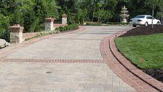 Red brick edged, grey pavers