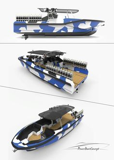 High performance boat designed by Powerboatconcept to fulfill your hobbies. Status: in production by Querbarcelona shipyard High Performance Boat, Sailboat Cruises, Float Life, Sport Boats, Yacht Party, Deck Boat, Classic Yachts, Yacht Interior, Pontoon Boat