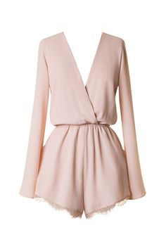 Short & Sweet Lace Trim Romper - Blush