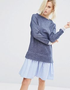 I Love Friday 2 In 1 Jumper Dress With Stripe Hem Shirt Layer