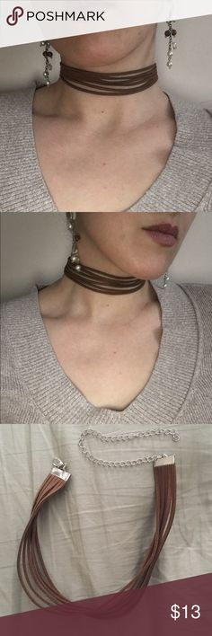 6 Layer Brown Suede Like Choker Soft Suede like brown 6 Layer Choker. Also, in Heather Grey. (See other listing).                             Fast Shipping                                                Pics are actual Jewelry Necklaces