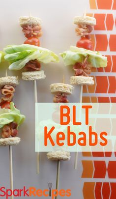 BLT Kabobs!! Cute party idea! | via @SparkPeople #party #appetizer #recipe