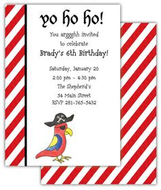 Pirate Parrot Invitations