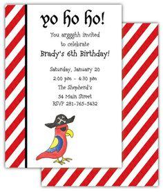 Pirate Parrot Invitations