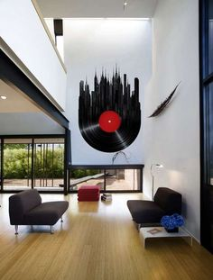 Musically Inspired Furniture And Decorations For Your Home--- LOVE the giant vinyl on the wall!