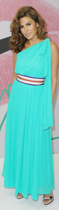 Who made  Eva Mendes' striped belt and blue one shoulder dress?