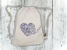 """Vogelherz"" Rucksack, Turnbeutel // gym bag, bird heart by PIER 5 by artwerbung via DaWanda.com"