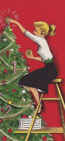 Christmas Candy Painting - Christmas Illustration 664 - Vintage Christmas Cards - Christmas Tree by TUSCAN Afternoon Hallmark Christmas, Noel Christmas, Merry Little Christmas, Vintage Christmas Cards, Retro Christmas, Christmas Images, Vintage Holiday, Christmas Greetings, Winter Christmas