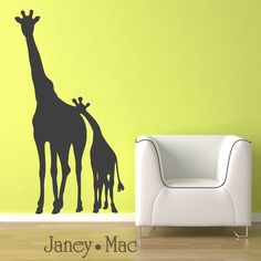 Childrens Giraffe Wall Decal - Mom and Baby Kids Bedroom Nursery - Jungle Safari Sticker Room Décor