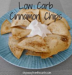 Carb Cinnamon Chips - great for snacking!Low Carb Cinnamon Chips - great for snacking! Low Carb Appetizers, Low Carb Desserts, Low Carb Recipes, Snack Recipes, Diet Desserts, Dessert Recipes, Ketogenic Desserts, Delicious Desserts, Dinner Recipes